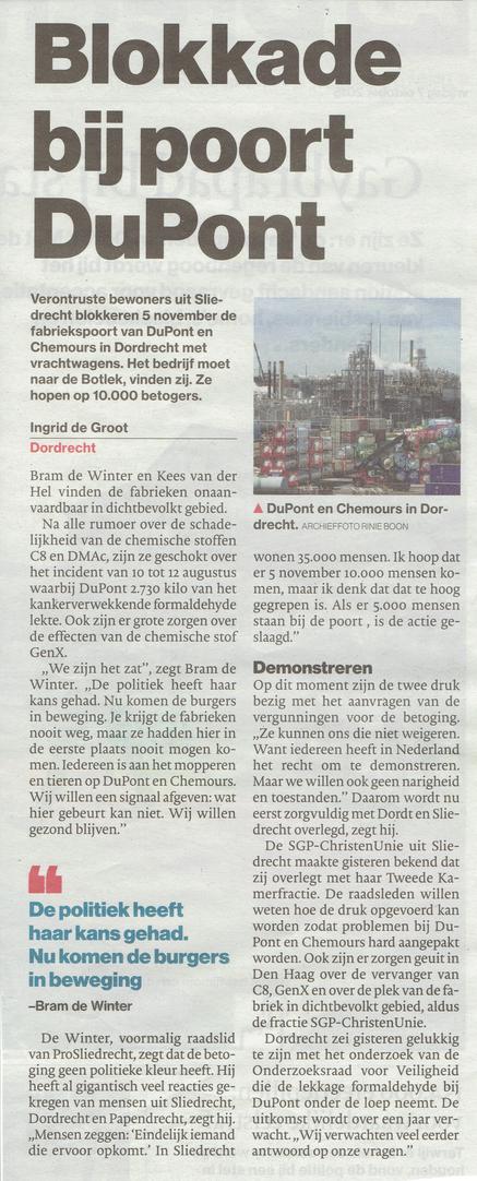 Artikel verschenen in AD De Dordtenaar van 7 oktober 2016
