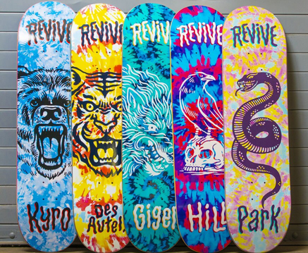 Revive Skateboards Pro Tie Dye Decks Spring 2020 - VMS Distribution Europe - Motiv Bearings Swiss Rated Premium Bearings now available in Germany, Austria and all over Europe through VMS Distribution.