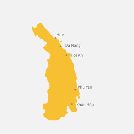 Kartenansicht von Vietnams Mitte