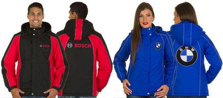 Winterjacke, bestickt, Werbung Jacke