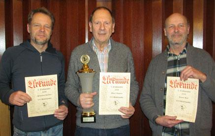 Die Clubmeister 2018 der Geselligen Runde Bad Tölz:      Sebastian Kleffner (1.135) Albert Vosseler (1.162), Rainer Holl (1.024)