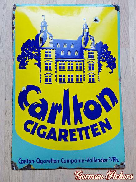 Carlton Cigaretten - Emailschild  Vallendar a. Rhein / Deutschland um 1920  40 x 60 cm