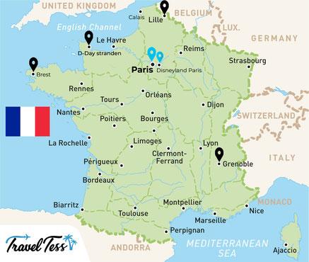 Kaart van Frankrijk