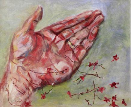 """""""Reich mir deine Hand"""", 2016, Acryl, 50 x 70 cm"""