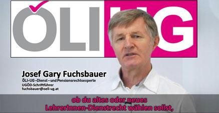 """Video der UGÖD """"Altes oder neues Lehrer/innen-Dienstrecht?"""" mit Gary Fuchsbauer, Dienst- und Pensionsrechtsexperte der ÖLI-UG  Bild:screenshot/bearbeitet:spa"""