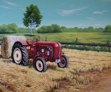 Traktor auf Leinwand in Öl