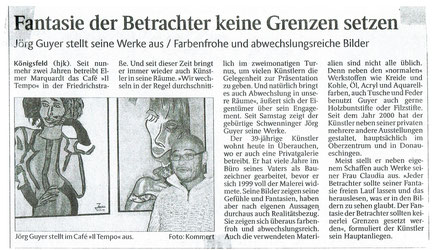 """Pressebericht Schwarzwälder Bote """"Fantasie der Betrachter keine Grenzen setzen"""""""