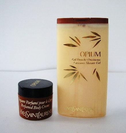 OPIUM - PRODUITS POUR LA TOILETTE : 1 MINIATURE ONGUENT PARFUME POUR LE CORPS ET UNE MINIATURE GEL DOUCHE PARFUME
