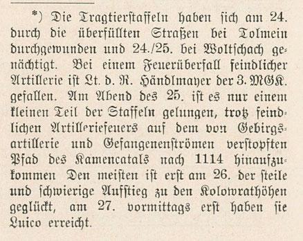 Randnotiz zum Tode Händelmayers aus der Regimentsgeschichte des Bayerischen Infanterie Leibregiments (Seite 322).