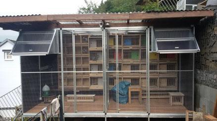 Mobiler Taubenschlag in Hanglage mit Untergestell