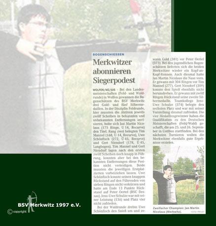 Artikel - LM Feld/ Wald 2010 in Bitterfeld-WolfenBSV Merkwitz
