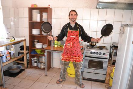David en la cafetería, dueño y señor de la cocina