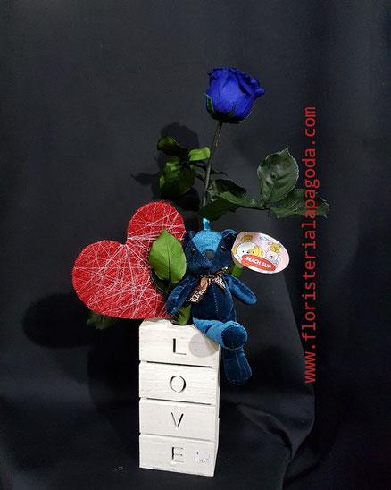 Rosa eterna azul.  Ref rosas eternas 03