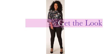elegante Bluse schwarz mit Blumenmuster Größe 46