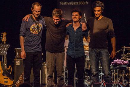 Le JarDin Quartet, Julien Dubois, Simon Chivallon, Ouriel Ellert, Gaétan Diaz, salle culturelle de Cénac. Festival JAZZ360 2016. Photographie : Christian Coulais