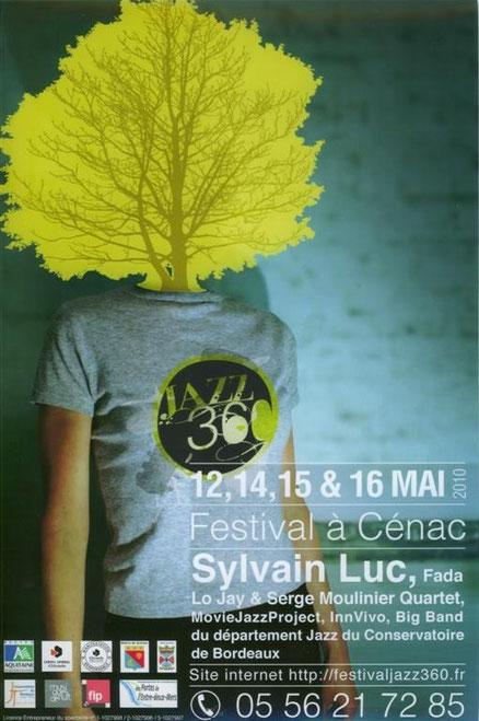 Affiche du premier Festival JAZZ360, les 12, 13, 14, 15 & 16 mai 2010. Graphisme David Gimenez