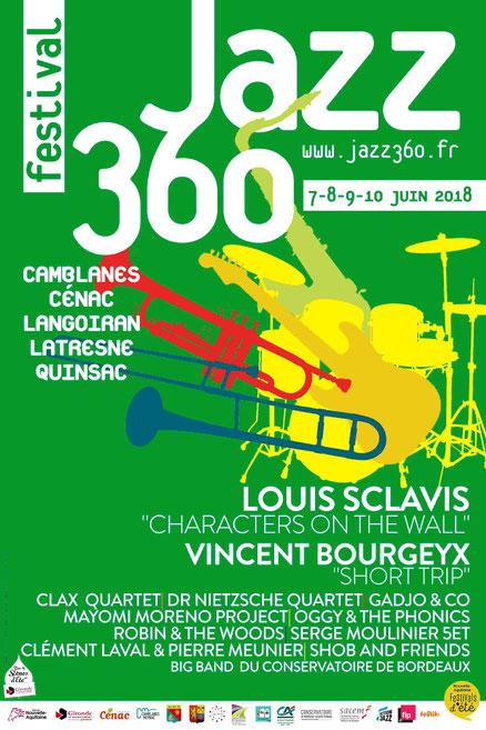 Affiche officielle du Festival JAZZ360 2018, sur 5 communes de la CDC des Portes de l'Entre-Deux-Mers. Graphisme : Ulysse Badorc