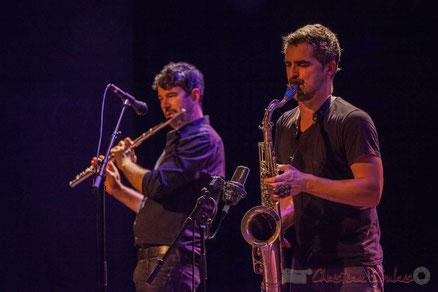 Sylvain Rifflet Quartet :  Joce Meinniel, Sylvain Rifflet. Festival JAZZ360 2016, salle culturelle de Cénac. Photographie : Christian Coulais