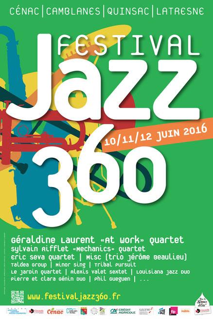 Affiche du septième Festival JAZZ360, les 10, 11, 12 juin 2016. Graphisme Ulysse Bador6
