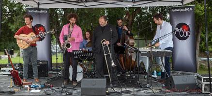 Alexis Valet Quartet : Yori Moy, Brice Matha, Jéricho Ballan, Sébastien Arruti, Aurélien Gody, Alexis Valet. Festival JAZZ360 2016, Quinsac. Photographie : Christian Coulais