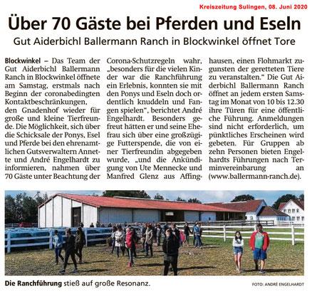 Kreiszeitung Sulingen über die Ballermann Ranch - Annette u. Andre Engelhardt