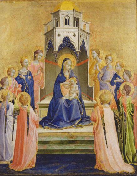Es muy posible que este cuadro se pintara para la comunidad dominica, una de las primeras obras para su convento.La Virgen y el Niño con 12 ángeles 1421.Temple al huevo y oro labrado sobre madera de chopo.Frankfurt Städel Museum