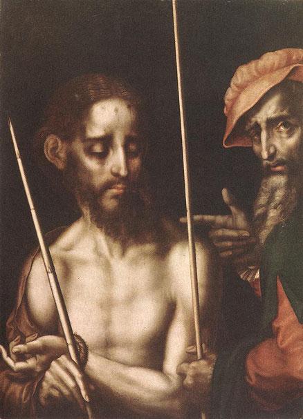 Luis de Morales, el Divino, Ecce Homo. Óleo sobre tabla. Morales se anticipó en sus composiciones a la imaginería española que pedía el Concilio de Trento(1545-1563) y junto al Greco en Toledo,gestó la iconografía CONTRAREFORMISTA