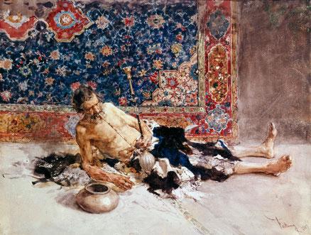 El fumador de opio,1869.Lápiz y acuarela sobre papel.San Petersburgo.Se ambienta la escena frente a suntuoso tapiz,el anciano se incorpora para aspirar el humo del opio resalta la flacidez de su carne.Ejecución que demuestra  su extraordinaria capacidad.