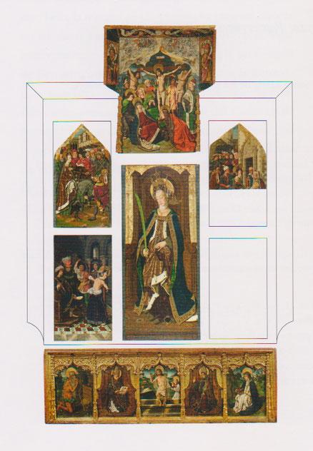 Fueron vendidas por separado las tablas ya entrado SXX, con escenas de la vida de la santa, detencion, encarcelamiento y la imagen central estilizada y aristocratica de la santa.