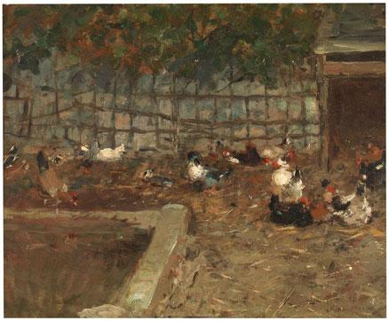 El corral.1869.Óleo sobre lienzo,38x46cm.Museo del Prado. El maestro estudia el movimiento fugaz de las aves y en especial de las gallinas.Su amplia libertad creativa para captar la gestualidad ligera y cambiante de estos animales.