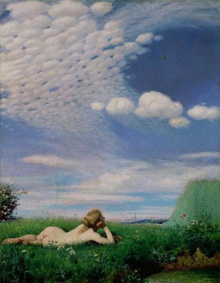 Pál Szinyei Merse.La alondra 1882. Este artista contrario al mundo academicista,prefería pintar situaciones sencillas con colores vibrantes de luz y el atento estudio de la naturaleza.Al principio fue muy rechazado.