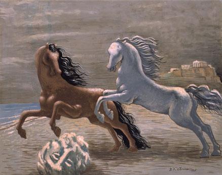 Giorgio de Chirico.Los dos caballos a la orilla del mar 1926.Óleo sobre lienzo,73x92cm.Museo de Arte Moderno y Contemporáneo de Trento .Las referencia al pasado y la vuelta al orden en la Europa de postguerras,un periodo metafísico para volver a los mitos