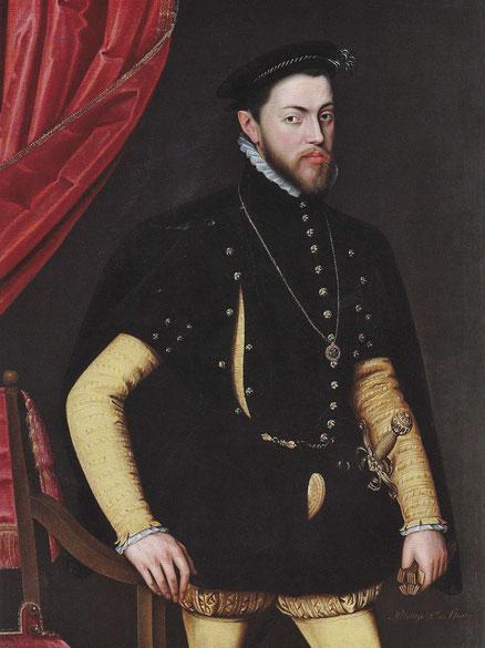 Jooris van der Straaten,Jorge de la Rúa activo entre 1556 y 1578.Retrato de Felipe II con la Orden de la Jarretera 1554.Primero casa con Mª de Portugal,luego con Mª Tudor hija de Enrique VIII y Catalina de Aragón por ello se convierte en rey de Inglaterra