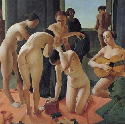 Felice Casorati.Concerto 1924. RAI Direzione Generale,Turín. Una relectura personal del desnudo femenino, un equilibrio entre el tiempo actual y el relato antiguo, trasladado a una dimensión mágica.
