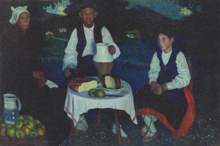 Valentin de Zubiaurre.Amarretako 1909.Destaca el costumbrismo rural de espíritu melancólico y reflexivo.Escenas apagadas y misticismo primitivo de Vasconia.