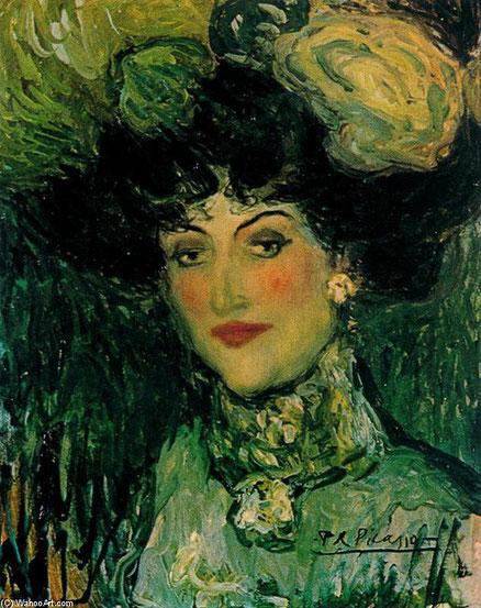 Pablo Picasso.Mujer con sombrero de plumas. Madrid 1901.Óleo sobre lienzo.46x38cm.McNay Art Museum,San Antonio.La mayoría de las obras que Picasso  presentó en la Galeria de Vollard eran retratos de mujeres de elegancia vulgar, mujeres de la calle...