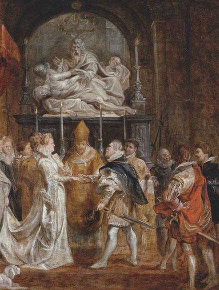 La boda por poderes de María de Médicis con Enrique IV de Francia,1622.Reverso de la caza del león. La composición es una de las mas sencillas de la serie.La mujer que lleva la cola del vestido es la diosa Juno que aqui es la protectora del matrimonio.