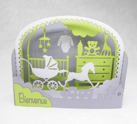 "Carte de naissance garçon en pop-up gris vert blanc ""Bienvenue"""