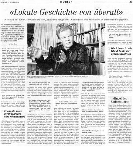 Wohler Anzeiger Interview mit Einar Mar Gudmundsson 21.10.2014