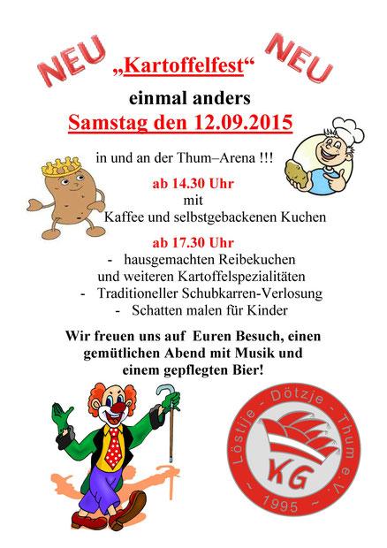 Wurfsendung Kartoffelfest 2015, Samstag den 12.09.2015