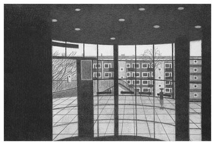 Einkaufszentrum Hamburger Straße, 25 x 38 cm, Bleistift auf Papier, 2003