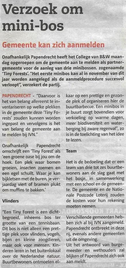 Artikel Papendrechts Nieuwsblad 20 maart 2019
