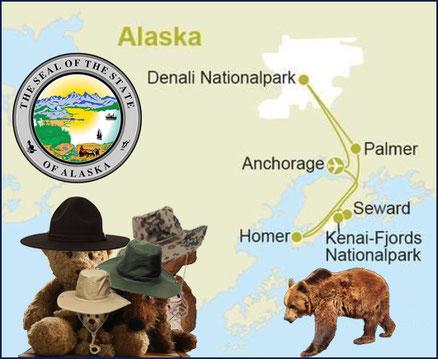 Kasimirs, Cäsars, Fredis und Kerls Reiseroute in Alaska