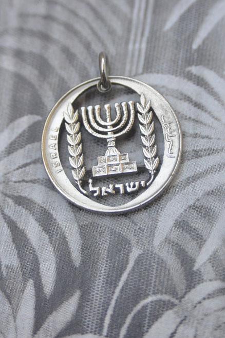 Münzsägewerk Katrin Thull | Israel - Menora silberfarben