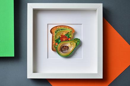 quilling , art, paper art, quilling paper art, avocado quilling art, quilling avocado toast, quilling wall art, paper,  quilling wall art, artwork, квиллинг, Larissa Zasadna, Лариса Засадная, Квиллинг бумага
