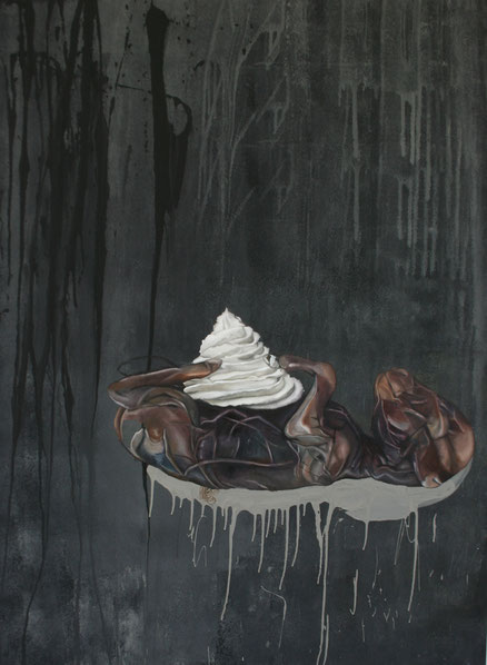 i told you (lamb with cream sauce) . 2013 . 90x75 . oil on canvas