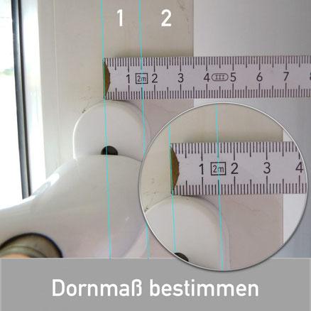Auch beim Dornmaß gibt es nur 2 Möglichkeiten:  - 7 mm Dorn-Maß - 15 mm Don-Maß (wie in unserem Beispiel)