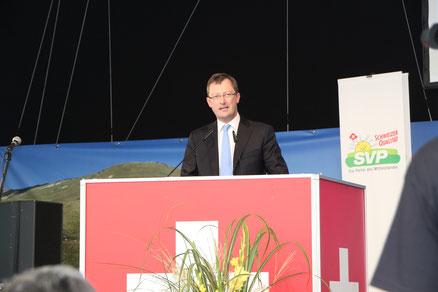 Rede am Parteitag der SVP Schweiz zum Wahlkampfauftakt in Luzisteig. August 2015