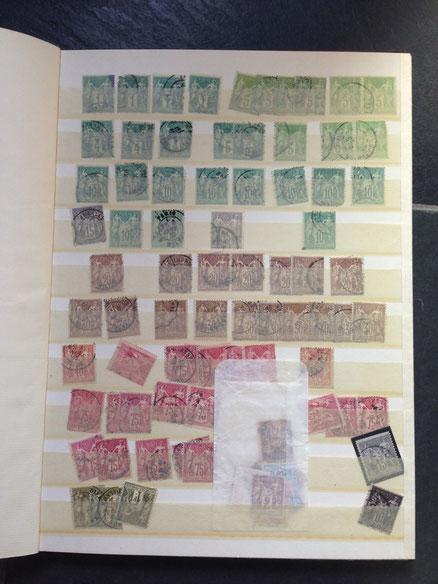 collection de timbres classiques de France oblitérés type sage