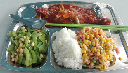 遼寧師範大学 学生食堂 食事の写真